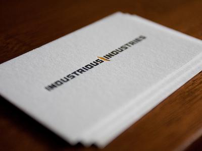 Industrious Industries letterpress printing logo business card press branding ink logotype