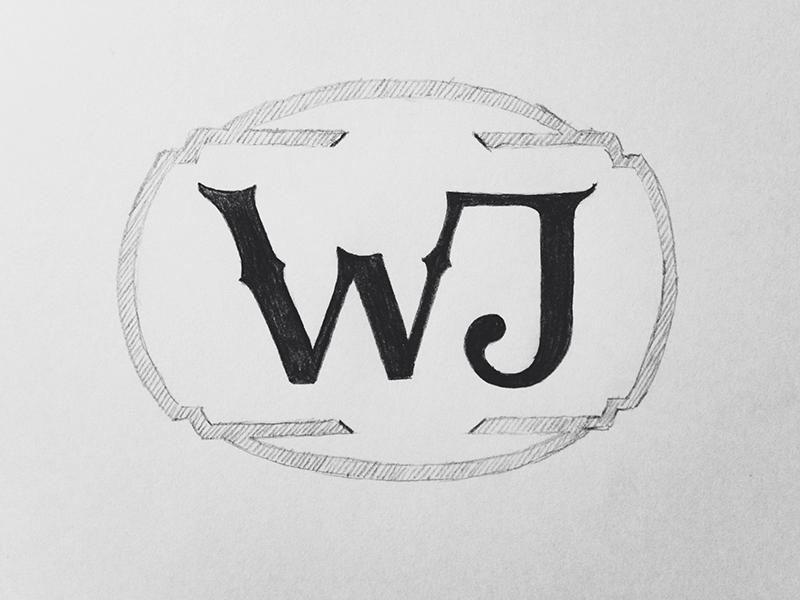 Wj Logo Sketch branding logotype lettering illustration type identity sketch