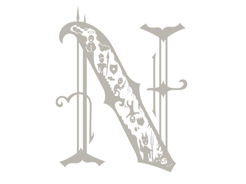 N lettering illustration type typography detail