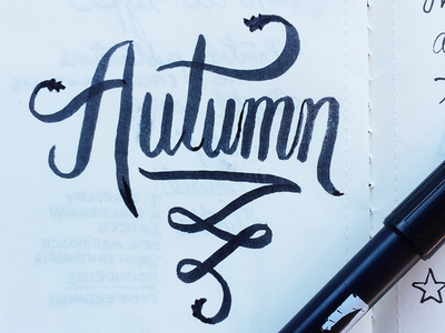 Autumn brush sketch ink lettering