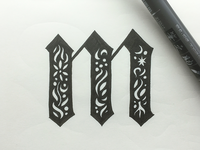 Decorative M typography illustration lettering