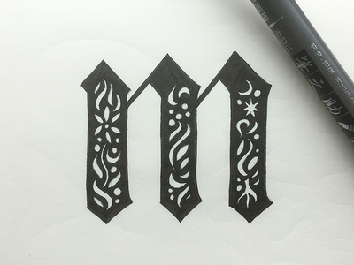 Decorative M typography illustration lettering
