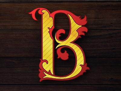 B calligraphy vector lettering illustration