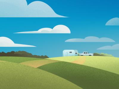 Landscape Camping Illustration