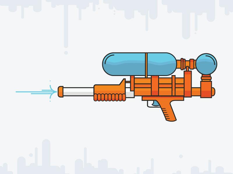 Hunting Fish fun summer water gun squirt gun super soaker illustration