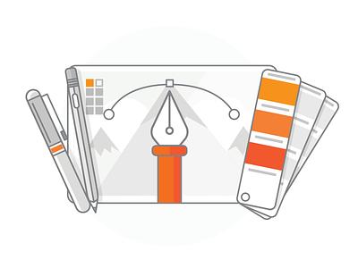 Design Services vector pencil pens pantone tools design illustration