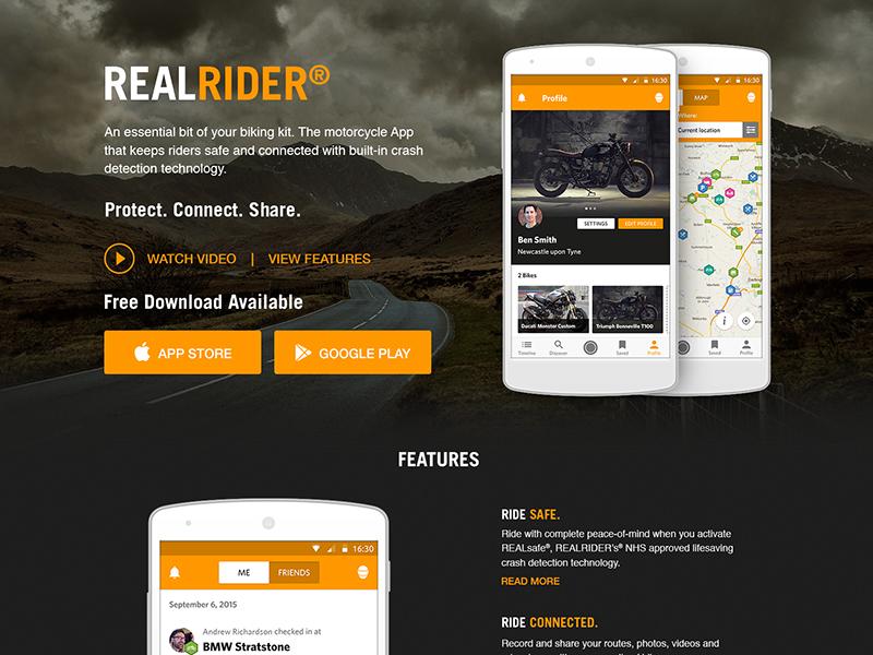 Realrider website android ios app realsafe realrider motorbikes advertising front-end design web design