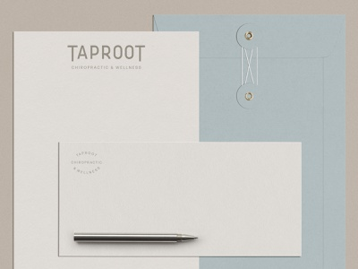 Stationary for Taproot Chiropractic stationary illustration design logo handmade hand drawn graphic design collateral branding brand identity