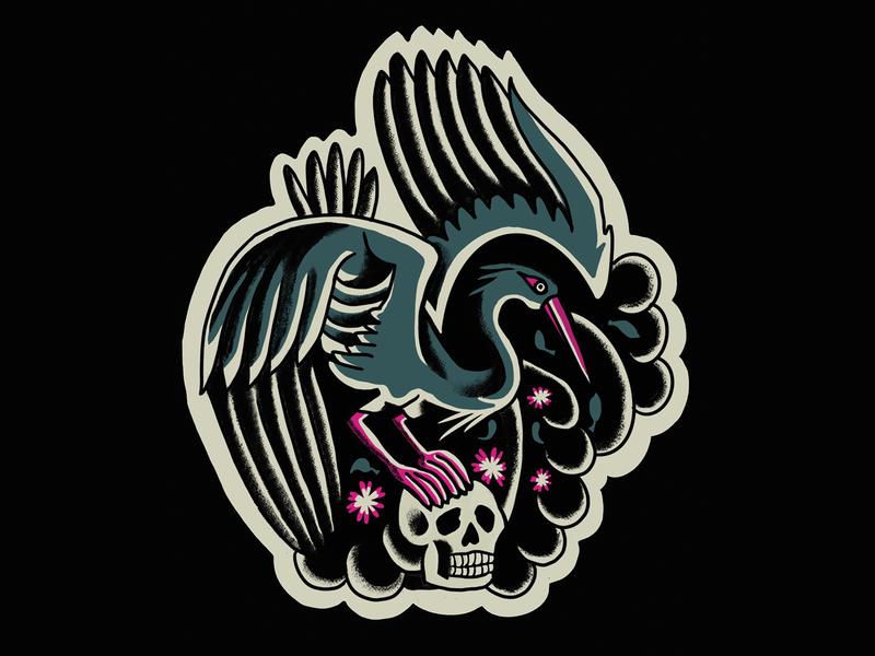 Traditional Crane & Skull skull crane traditional tattoo design illustration