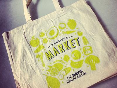 Farmers Market Tote Bag Hand Drawn 2 Color Vegetables Fruit Branding