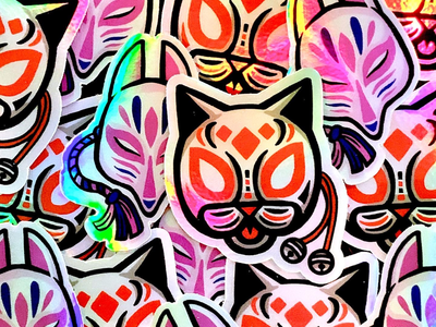 Holographic stickers japanese illustration mask holographic sticker