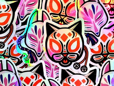 Holographic stickers japanese illustration mask holographic sticker