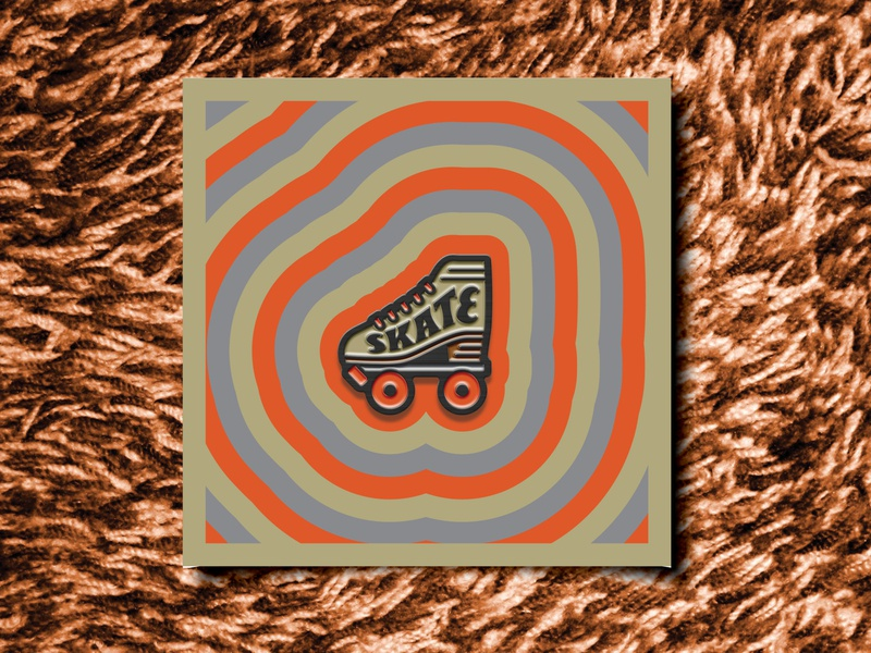 "Skate Retro 1""x1"" enamel pin illustration design skate rollerskate retro pin enamel pin"