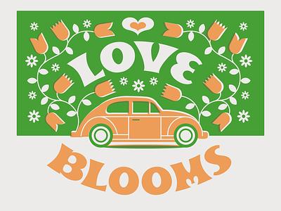 Love Blooms ornate overprint illustration flowers vwbug volkswagen