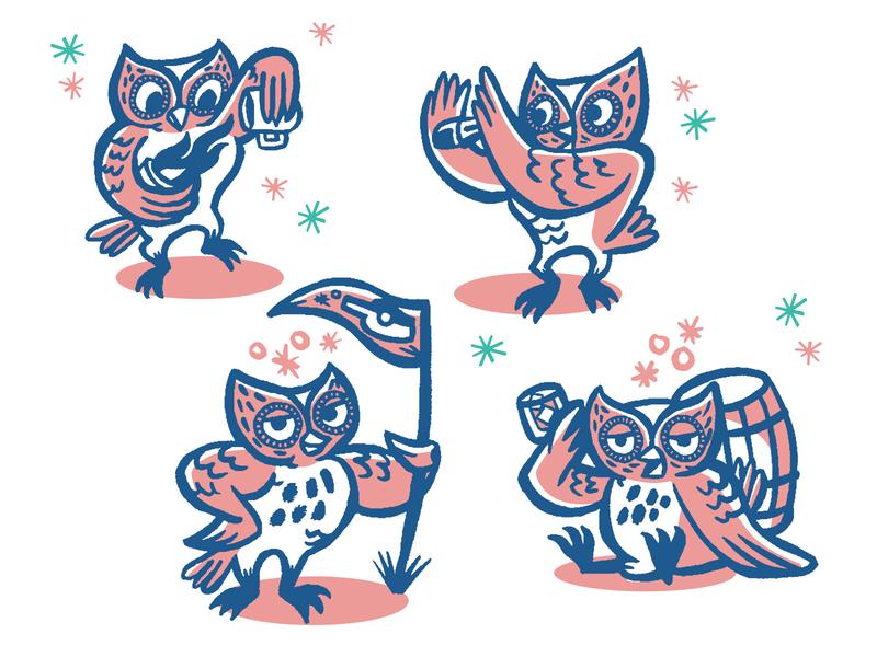 Good Bottle owl mascot mid-century modern design owl alcohol bartender mascot illustration