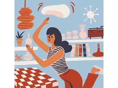 Stuck at Home illustration organic simple pizza home mid-century modern drawing retro design illustration