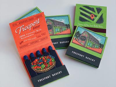 Freeport Bakery matchbox matches retro print illustration freeport bakery vintage matchbox