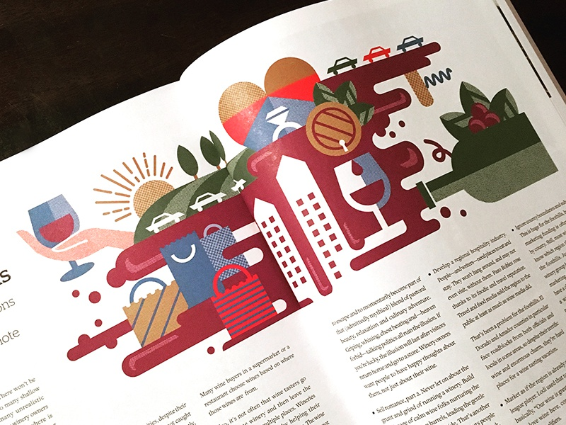Grape Expectation illustration — Edible Magazine food napa wine country wine geometric illustration