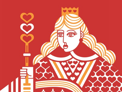 Queen of Hearts Illustration  2-colors design hearts queen illustration