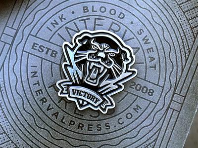 Victory Panther enamel pin lightning bolt silver enamel pin pin ww2 retro black panther victory