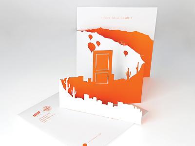 Shift17 invite design 1-color laser-cut fold paper invitation