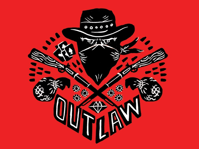 Outlaw Illustration (RDR2 inspired) 2-color red dead redemption cowboy outlaw illustration design