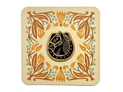 Horseshoe enamel pin design branding retro western packaging soft enamel pin horseshoe horse illustration design enamel pin