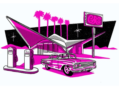 Retro Gas Station risoprint gas station car retro color illustration