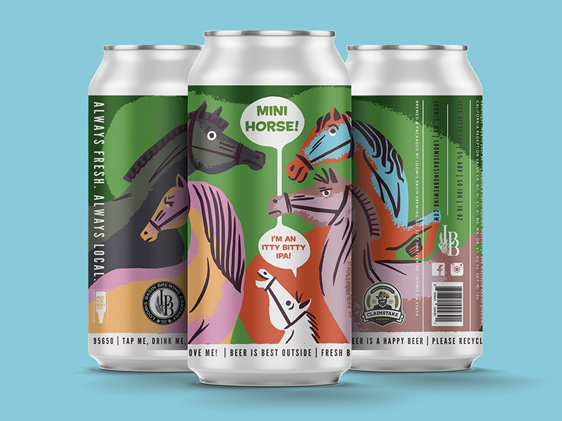 Mini Horse beer cans procreate retro mini horse craft beer can beer label packaging illustration horse