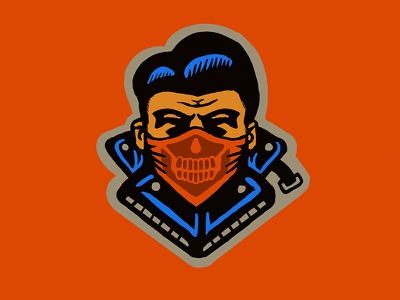 1950s Chain Gang greaser bandana colors simple motorcycle retro design