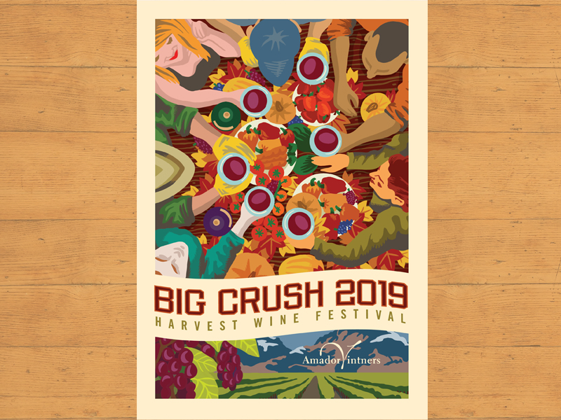 Big Crush 2019 poster big crush illustration banquet people group fall poster wine