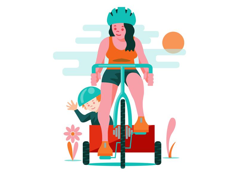 Pedalfest illustration drawing minimalism child mom geometric riding illustration bicycle