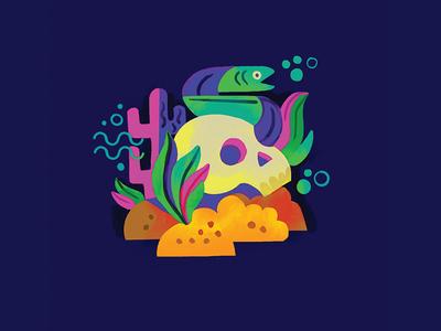 underwater skull color geometric brushes eel underwater design skull illustration