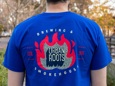 Urban Roots smokehouse T-shirt flame design t-shirt smokehouse bbq