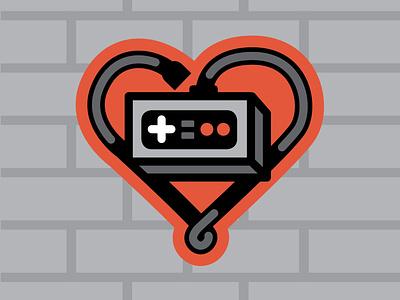 Video Game Love stickers illustration heart love controller design video games sticker