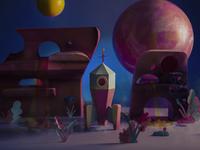 Retro Paper Rocket planet space rocket science fiction sci fi