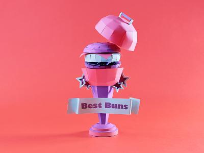 Best Buns Trophy not a render summertime picnic food papercraft outdoor season grill summer hamburger