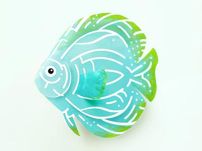 Discus #Gillustration fish paper craft discus