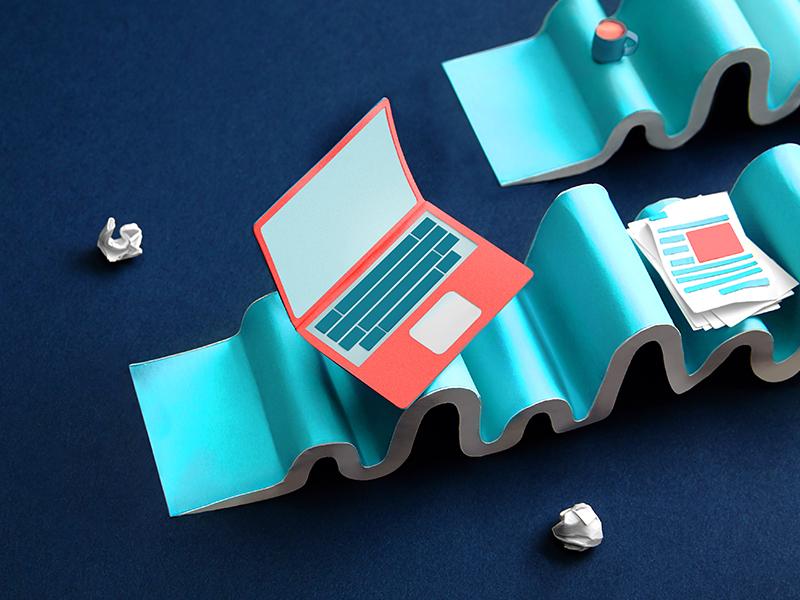 Routines day job work laptop waves focus lab paper illustration paper craft