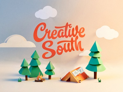Creative South paper illustration paper creative south forest tent camping
