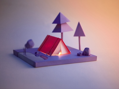 Camping Part 1 paper craft woodland pond paper scene nature tree camping tent