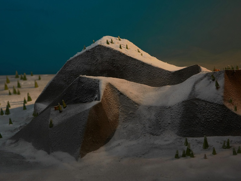 Epic Sunrise paper paper illustration still-life not a render miniature epicurrence mountain snow paper craft photography