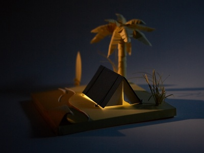 Beach Camping illustration paper illustration paper craft ocean sea sand dunes not a render sunrise night paper palm tree surf tent beach