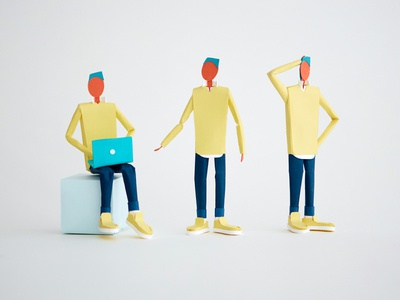 Paper Character standing sitting laptops computer laptop character poses paper human person