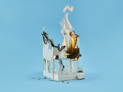 Up in Flames burning fire paper illustration paper house