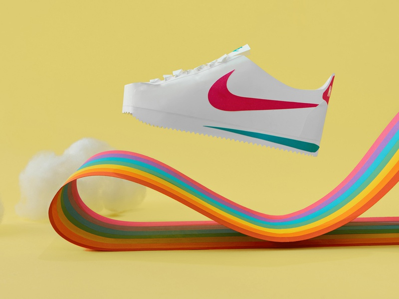 Paper Nike Cortez v3 abstract dream show nike cortez cloud rainbow nike illustration still-life paper illustration paper paper craft photography