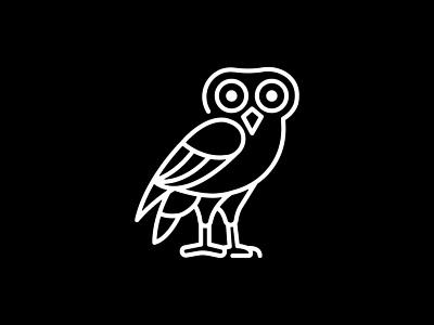 Owl design vector logo design illustration identity black minimal logo animal owl