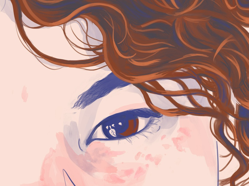 Mah, a little portrait brazil eye closeup portrait people krita digital painting 2d drawing illustration curls
