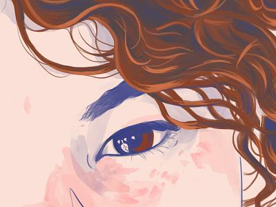 Mah, a little portrait brazil eye closeup portrait people krita digital painting 2d drawing illustration curls
