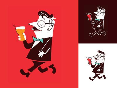 Djalminha beer vector 50s bar mcm midcentury modern flat illustration